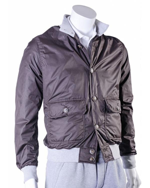 Button-down bomber jacket with sweatshirt trim