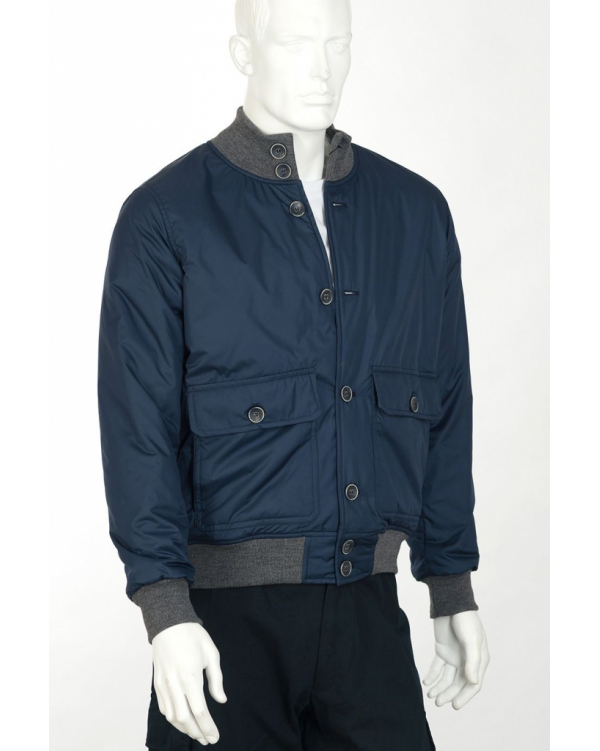 Button-down bomber jacket with tartan lining