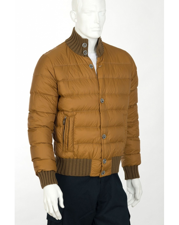 Winter quilted bomber jacket with knit trim
